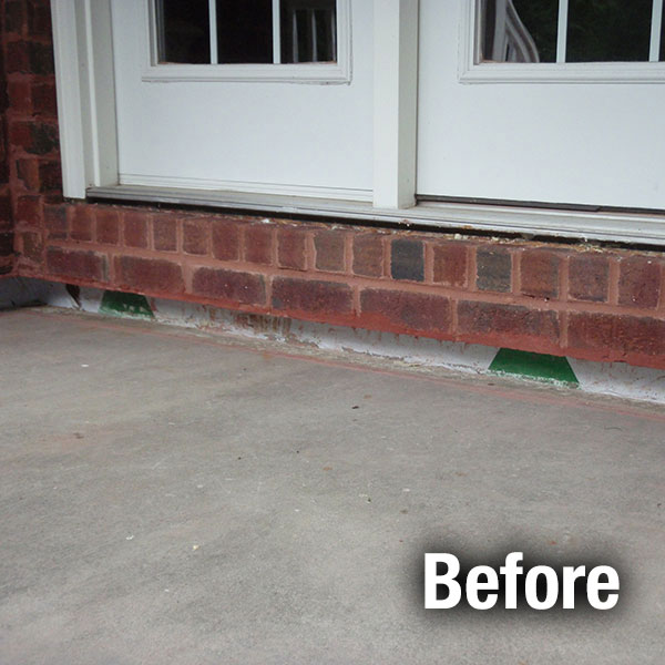 Charleston Concrete Porch Leveling - Before